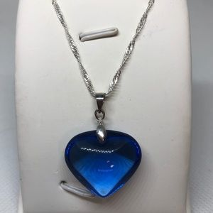 Blue Glass Heart Pendant Silver Necklace